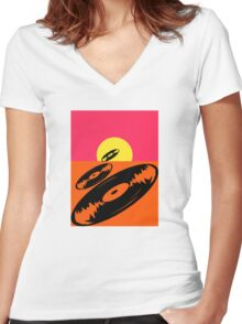 Pop Art Vinyl Record Endless Women's Fitted V-Neck T-Shirt
