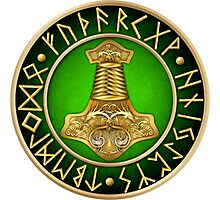 Norse Thor's Hammer Runes - Green Photographic Print