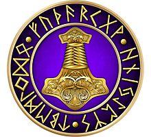 Norse Thor's Hammer Runes - Purple Photographic Print