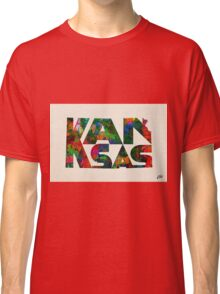 Kansas Typographic Watercolor Map Classic T-Shirt