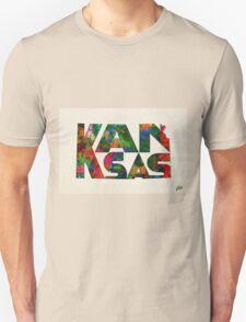 Kansas Typographic Watercolor Map Unisex T-Shirt