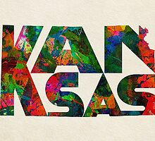 Kansas Typographic Watercolor Map by A. TW