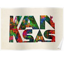Kansas Typographic Watercolor Map Poster