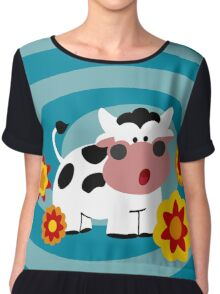 Psychedelic Cow Chiffon Top