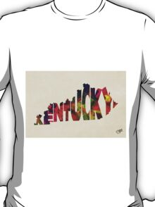 Kentucky Typographic Watercolor Map T-Shirt