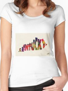 Kentucky Typographic Watercolor Map Women's Fitted Scoop T-Shirt