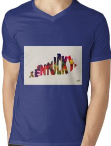 Kentucky Typographic Watercolor Map Mens V-Neck T-Shirt