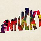 Kentucky Typographic Watercolor Map by Deniz Akerman