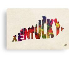 Kentucky Typographic Watercolor Map Metal Print