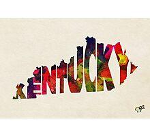 Kentucky Typographic Watercolor Map Photographic Print