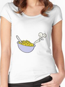 cartoon bowl of cereal Women's Fitted Scoop T-Shirt