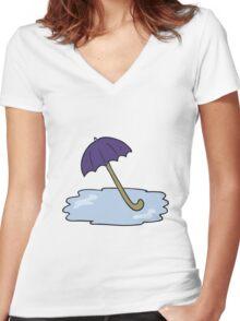 cartoon wet umbrella Women's Fitted V-Neck T-Shirt