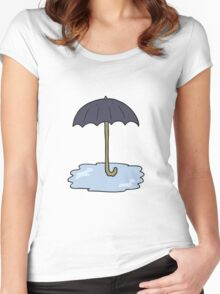 cartoon wet umbrella Women's Fitted Scoop T-Shirt