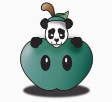 Panda in the Big Teal Apple Kids Tee