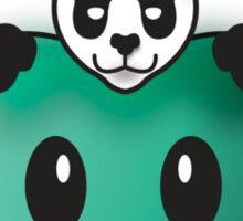 Panda in the Big Teal Apple Sticker