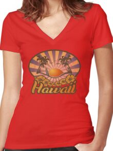 Hawaii Paradise Surf Beach Women's Fitted V-Neck T-Shirt