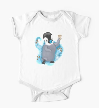 Winter Penguin holding a coffee One Piece - Short Sleeve