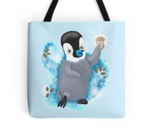 Winter Penguin holding a coffee Tote Bag