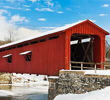 Red Covered Bridge and Snow by Kenneth Keifer