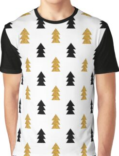 Christmas trees pattern gold and black Graphic T-Shirt