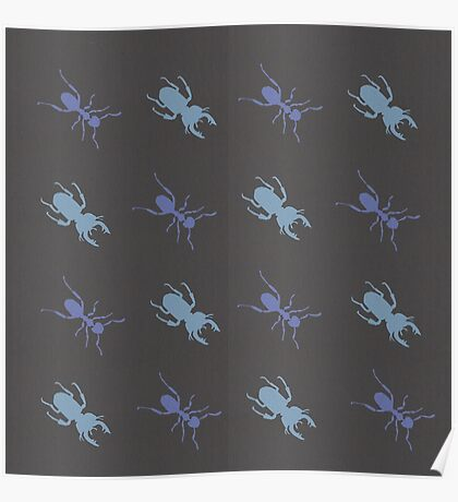 Ant and Stag Beetle Pattern Poster
