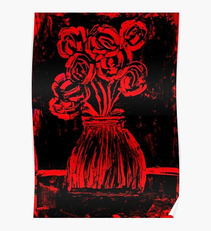 Roses in red and black wax painting Poster