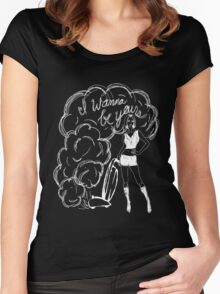 I Wanna Be Yours- White Print Women's Fitted Scoop T-Shirt