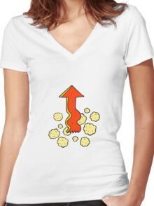 cartoon pointing arrow Women's Fitted V-Neck T-Shirt