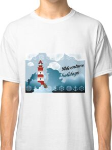 Lighthouse on unsteady coastline - Adventure holidays background illustration Classic T-Shirt