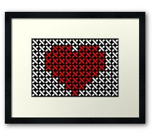 Embroidered heart illustration with red heart in cross-stiches on black Framed Print