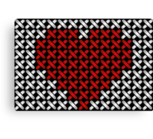 Embroidered heart illustration with red heart in cross-stiches on black Canvas Print