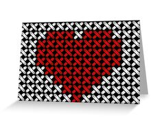 Embroidered heart illustration with red heart in cross-stiches on black Greeting Card