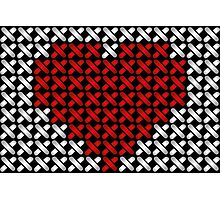 Embroidered heart illustration with red heart in cross-stiches on black Photographic Print