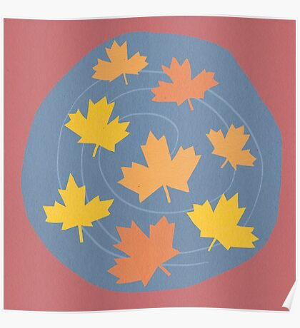 Autumn Leaves Spiral Poster