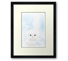 Mister Frost - beautiful illustration in cold-blue with man and Christmas baubles on frosty background Framed Print