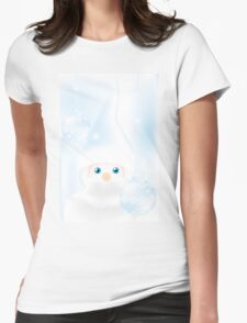 Mister Frost - beautiful illustration in cold-blue with man and Christmas baubles on frosty background Womens Fitted T-Shirt