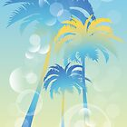 Tropical island - illustration with palm trees and bubbles  by schtroumpf2510