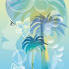 Tropical woman - abstract illustration with beautiful girl, palm trees, hibiscus flowers and bubbles by schtroumpf2510