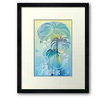 Tropical woman - abstract illustration with beautiful girl, palm trees, hibiscus flowers and bubbles Framed Print