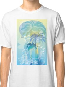 Tropical woman - abstract illustration with beautiful girl, palm trees, hibiscus flowers and bubbles Classic T-Shirt