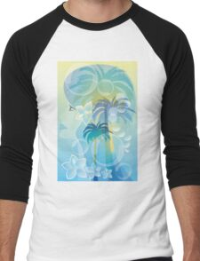 Tropical woman - abstract illustration with beautiful girl, palm trees, hibiscus flowers and bubbles Men's Baseball ¾ T-Shirt