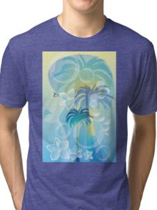 Tropical woman - abstract illustration with beautiful girl, palm trees, hibiscus flowers and bubbles Tri-blend T-Shirt