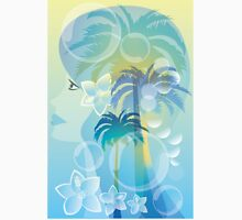 Tropical woman - abstract illustration with beautiful girl, palm trees, hibiscus flowers and bubbles Unisex T-Shirt