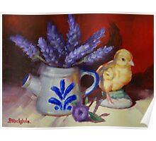 Chicken And Lavender Still Life Poster