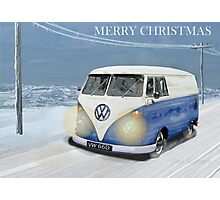 CHRISTMAS VW CAMPER VAN SNOW SCENE. Photographic Print
