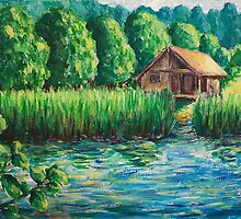 Impressionist Landscape with Country House on canvas by Schotter