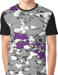 Grey and Purple Flowers Graphic T-Shirt