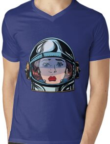 emoticon sadness Emoji face woman astronaut retro Mens V-Neck T-Shirt