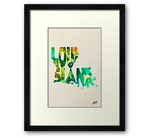 Louisiana Typographic Watercolor Map Framed Print