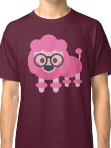 Pink Poodle Dog Emoji Nerdy Glasses Face Classic T-Shirt